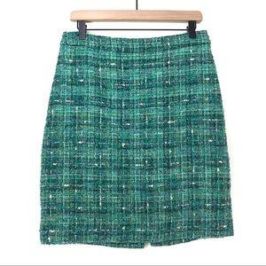 Kate Spade New York Tweed A Line Green Slit Skirt